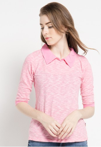 LOIS JEANS pink 7/8 Sleeve T-Shirt LO391AA59KTKID_1