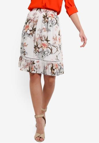 ZALORA 白色 褶飾下擺裙 A65FDAA15B5DCEGS_1