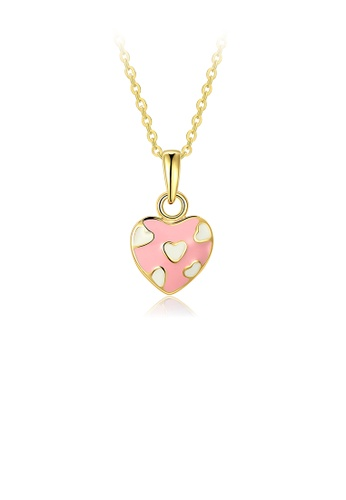 Glamorousky silver Fashion Sweet Plated Gold Pink Heart Pendant with Necklace 720DFACA6247EBGS_1