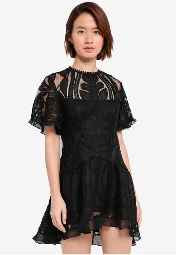 INDIKAH black Lace Skater Dress DCE65AA6DC484AGS_1
