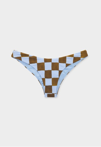Pomelo brown Sustainable High Cut Checkered Bikini Bottom - Brown 9D39AUS38D0062GS_1