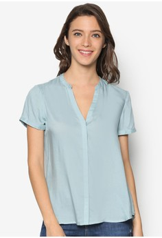 Short Sleeve Top with Button Up
