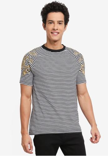 Topman 黑色 條紋刺繡T恤 30009AAC025577GS_1