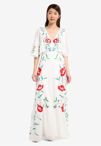 Miss Selfridge multi Embellished Flute Sleeve Maxi Dress 32AB3AAD41B53BGS_1