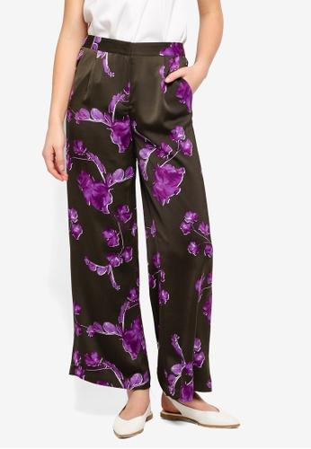 Y.A.S green Floral Print Wide Legged Trousers E7D5EAA1BA4DA3GS_1