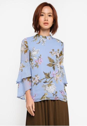 WAREHOUSE blue Molly Floral Print Top 9C15EAA6E14BB4GS_1