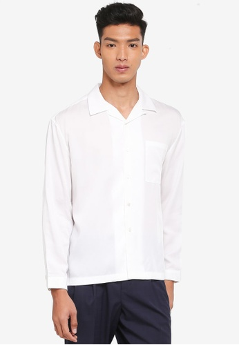 AT TWENTY white Oversized Camp Collar Lyocell Shirt B9E22AA6CDB219GS_1