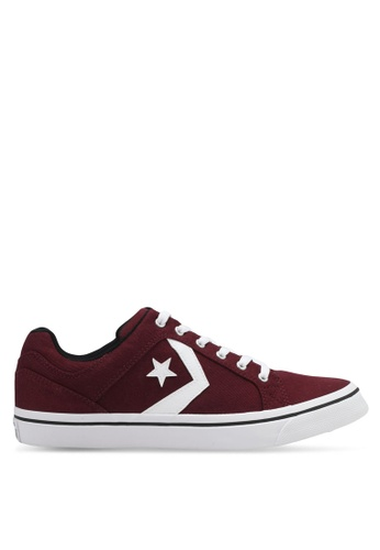 Converse white and red EL Distrito Ox Sneakers CO302SH0SW78MY_1