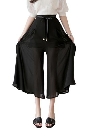 Halo black Wide Leg Cropped Pants F70BDAA1960031GS_1
