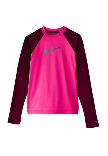 Nike Swim pink Girls Long Sleeve Hydroguard Rash Guard A222BKA1C5AD1BGS_1