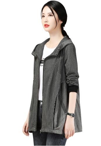 A-IN GIRLS black Retro Striped Hooded Jacket 73C8BAA48D46FDGS_1
