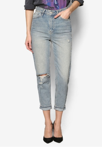 TOPSHOP blue Moto Bleach Ripped Mom Jeans TO412AA19YKEMY_1