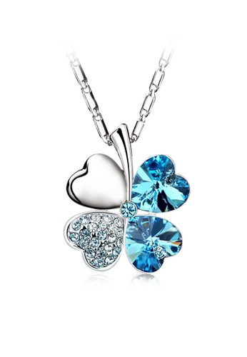OUXI blue Four Leaf Clover Necklace OU821AC52JHVMY_1
