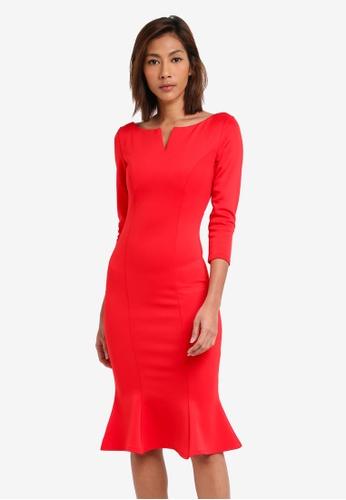 Goddiva red Fluted Hem Dress GO975AA0SSCLMY_1