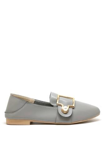 Twenty Eight Shoes 灰色 小方頭珍珠鈕Loafers 1140-78 8D035SHB59CF21GS_1