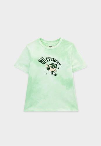 Pomelo green The Powerpuff Girls Buttercup Graphic T-Shirt - Green FE0EBAA95EE1E5GS_1