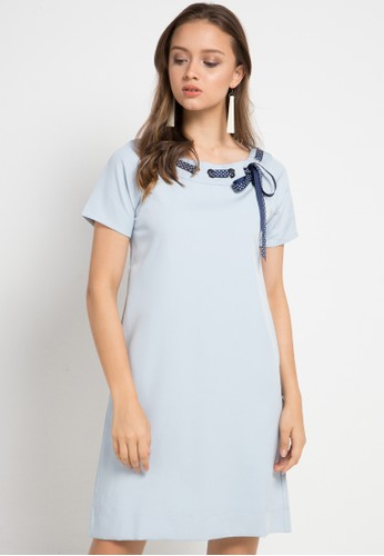 ELLE blue Short Sleeved Dress With Rope Creation On The Neck 45D2CAAF117D1AGS_1