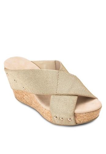 Vera 交叉寬帶楔型跟涼鞋,esprit macau 女鞋, 鞋