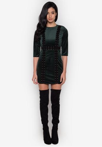 NOBASIC green Eye-let Velvet Mini Dress NO444AA0GT72SG_1