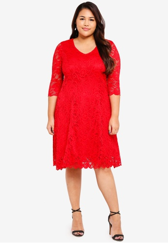 Junarose red Plus Size Emma Above Knee Dress 2AD4AAA0C32907GS_1