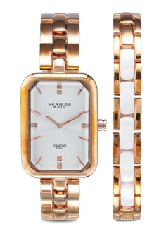 5a54b3df18a1 Akribos XXIV pink Diamond Watch+Bracelet A1584AC5EE7A10GS 1