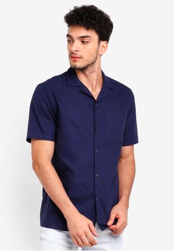 Burton Menswear London navy Navy Short Sleeve Revere Shirt 313D8AAD8FCE08GS_1