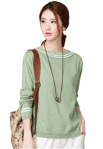A-IN GIRLS green Fight Color Sweater 63305AA2BDF59FGS_1