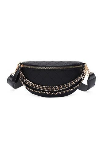 A FRENZ black AFRENZ Women Quilted Chain Strap Fanny Pack Crossbody Bag 1E1CFACB526703GS_1