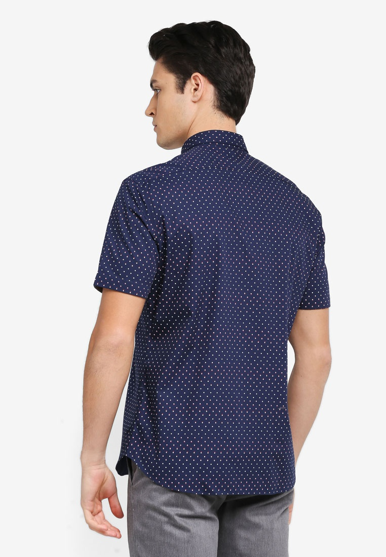 2 Dot Tone Print Peacoat G2000 Short Sleeve Shirt rwrFO