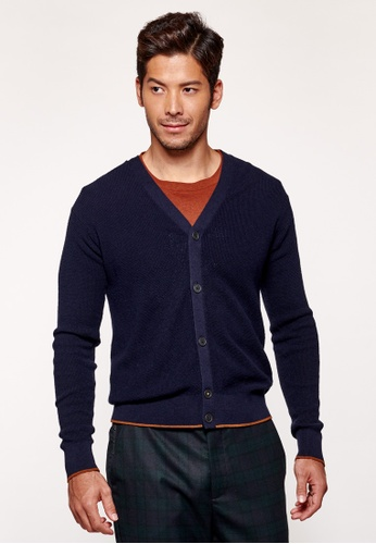 Sisley navy V-neck Knitted Cardigan. 2818FAA83F0A4CGS_1