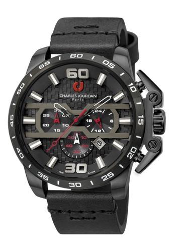 Charles Jourdan black Charles Jourdan Men CJ1044-1735C Black Genuine Leather Watch 1A173AC0F91C13GS_1