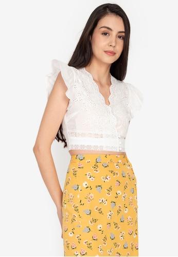 ZALORA BASICS white Crochet V-Neck Crop Top D32EDAA57161FFGS_1