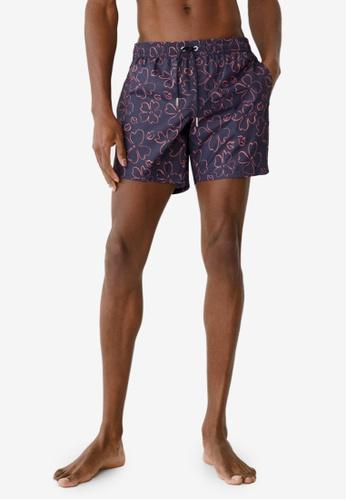 MANGO Man blue Floral Print Swimsuit 83BB9US7F9C22BGS_1