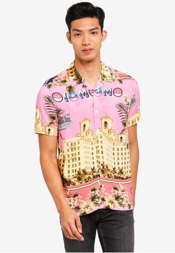 Topman pink Pink Miami Car Short Sleeve Shirt 6C6F2AA58A30F4GS_1