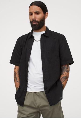 H&M black Short-Sleeved Cotton Shirt EAA12AAEA58D22GS_1
