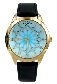 Nafisa Women's Gold Case Baby Blue Dial Black Leather Strap Wrist Watch