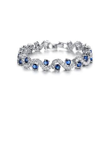 Glamorousky white Elegant Fashion Geometric Corrugated Blue Cubic Zirconia Short Bracelet B1B6AAC4D58B26GS_1
