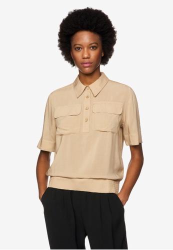 United Colors of Benetton 褐色 造型短袖襯衫 C53A6AA38E7F4FGS_1