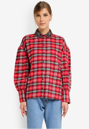 TOPSHOP red Embellished Collar Check Shirt TO412AA0SLBPMY_1