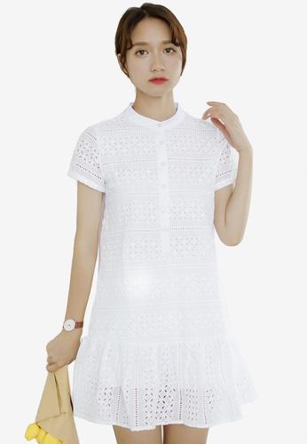 Shopsfashion white Crochet White Shift Dress E506AAA6E5FBFFGS_1