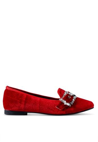 Nose 紅色 絲絨鑽飾平底鞋 339D8SH39331D9GS_1