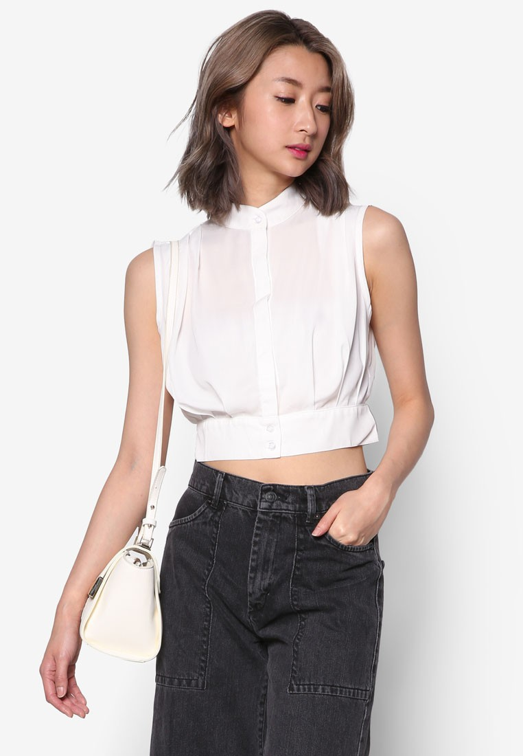 Crop Top With Pleats Detail