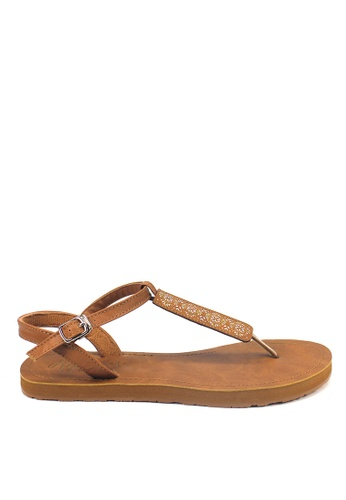 Ripples brown Amaris Slide'N'Style T-Bar Sandals RI425SH48JXFSG_1