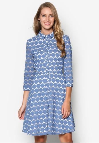印花襯衫式洋裝, 服飾,esprit hong kong 分店 洋裝