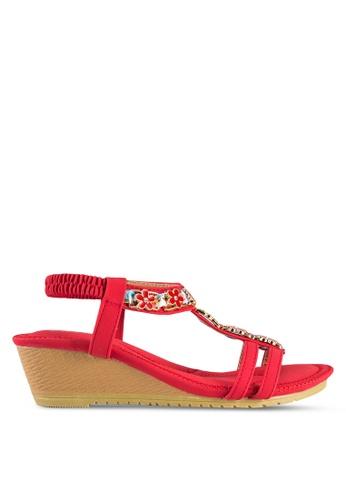 kiki red Embellished Wedge Sandals KI061SH21VUSMY_1