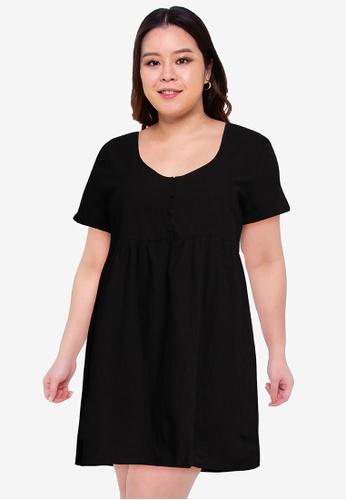 Cotton On black Curve Mini Button Up Beach Dress 32A93AA2EAE571GS_1