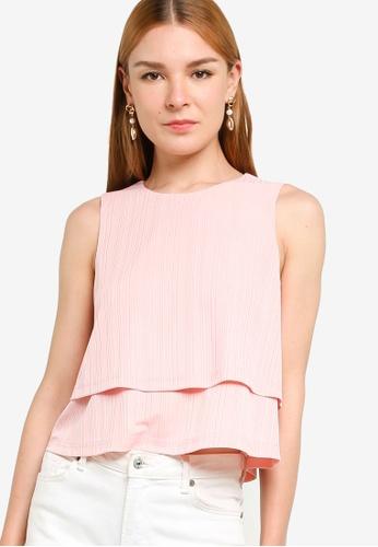 ZALORA WORK pink Double Layer Rib Top 01D94AA1465BB0GS_1