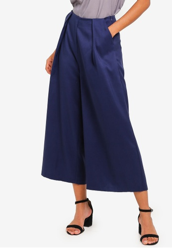 ZALORA BASICS navy Basic High Waisted Pleat Front Culottes E3FDBAAA51032BGS_1