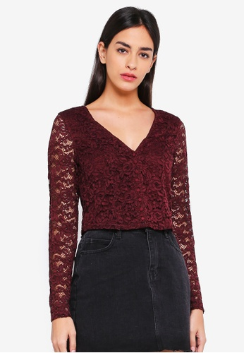 Abercrombie & Fitch red Long Sleeve Lace Blouse 530CBAA1F7CF52GS_1