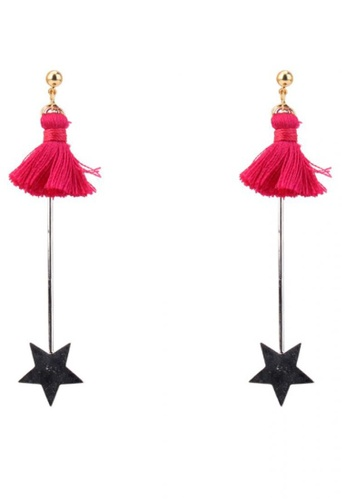 LOVENGIFTS red Tassel And Beneath Star Drop Earrings (Pink) 80296ACDD97CF0GS_1